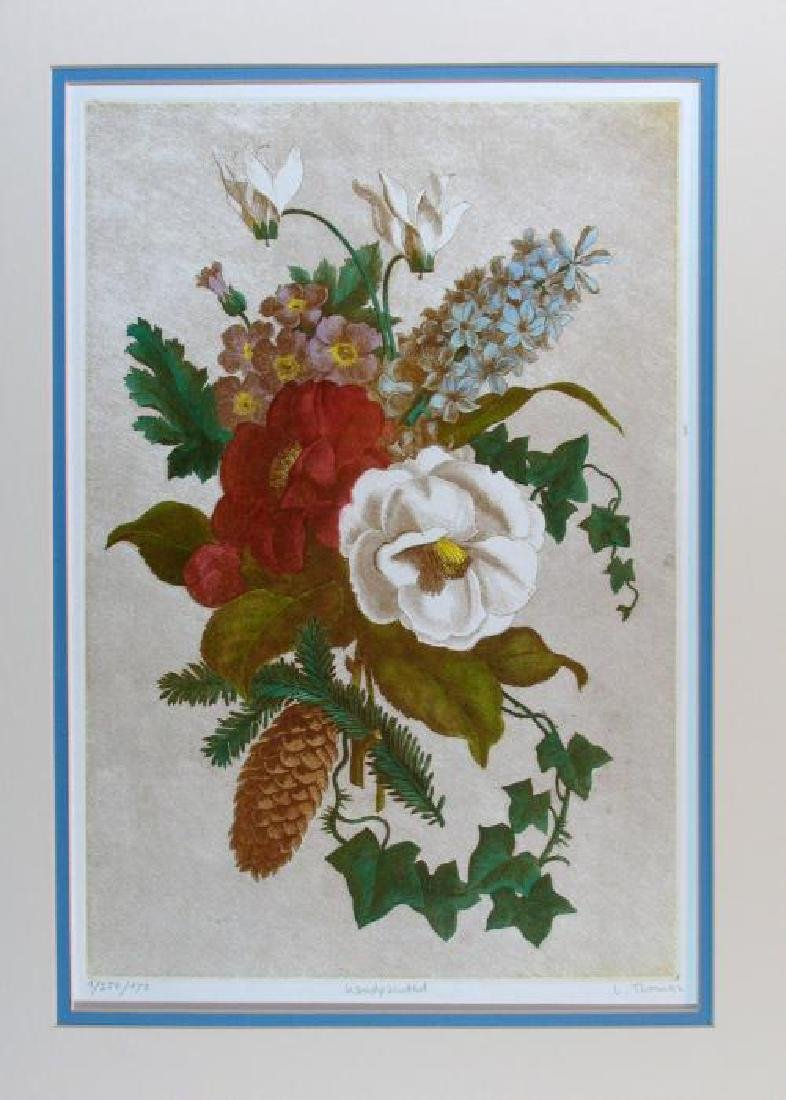 Floral Hand Colored Original Etching Signed & Numbered - 3