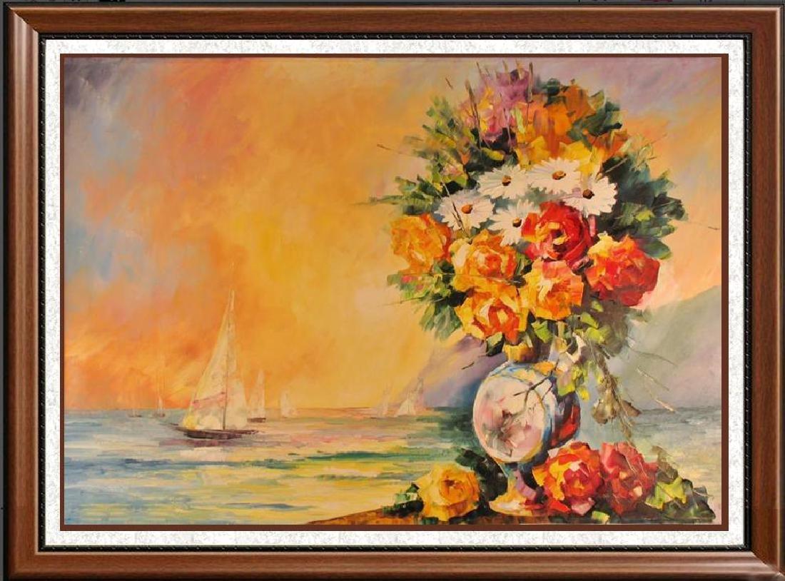 Landscape Ocean Scene W/Floral Textures Original