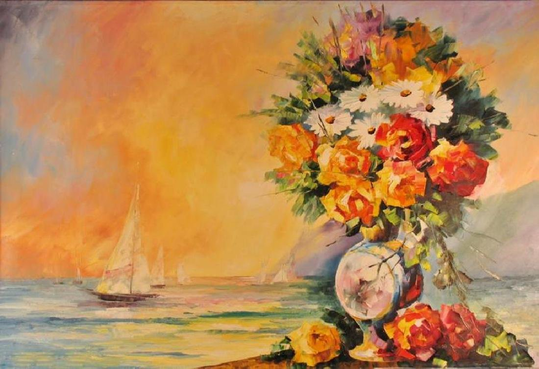 Landscape Ocean Scene W/Floral Textures Original - 2