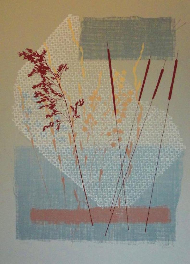 Rustic Abstract Litho on Paper Signed Art - 2