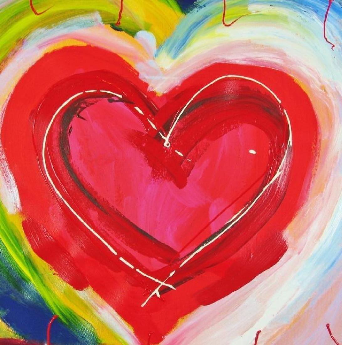Pop Canvas Heart Series Signed Original Mixed Media - 3