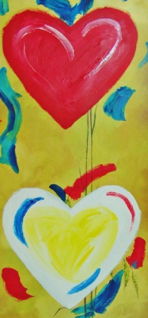 Pop Canvas Heart Series Signed Original Mixed Media - 4