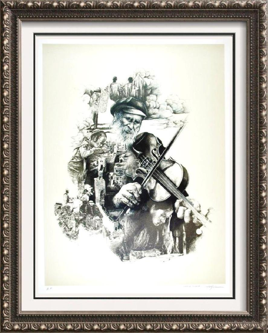 Litho Signed Old Man playing Violin Detailed Limited