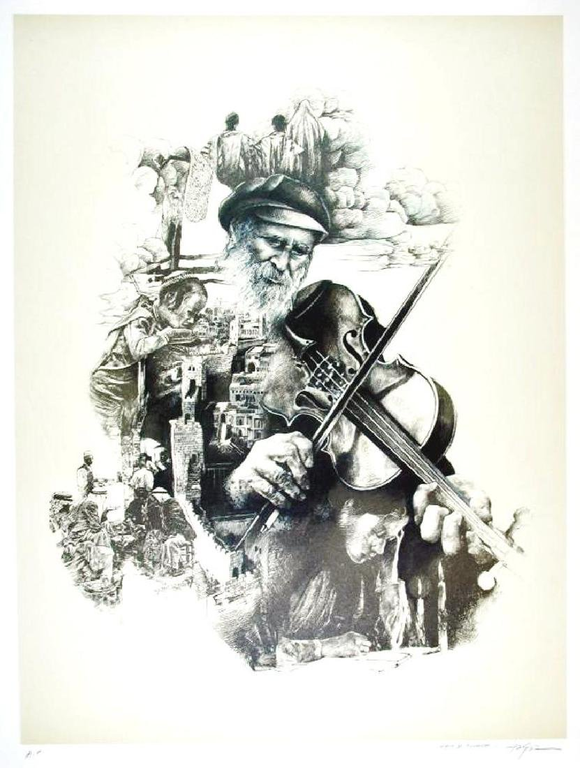 Litho Signed Old Man playing Violin Detailed Limited - 2