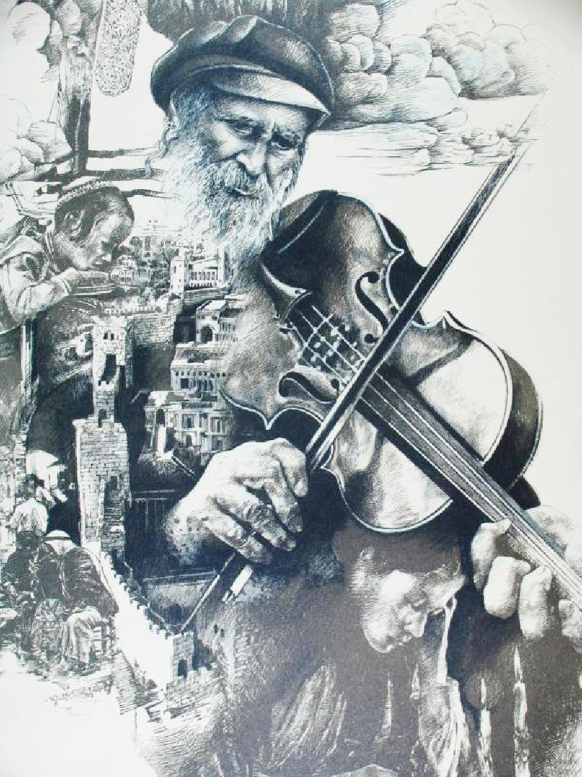 Litho Signed Old Man playing Violin Detailed Limited - 3
