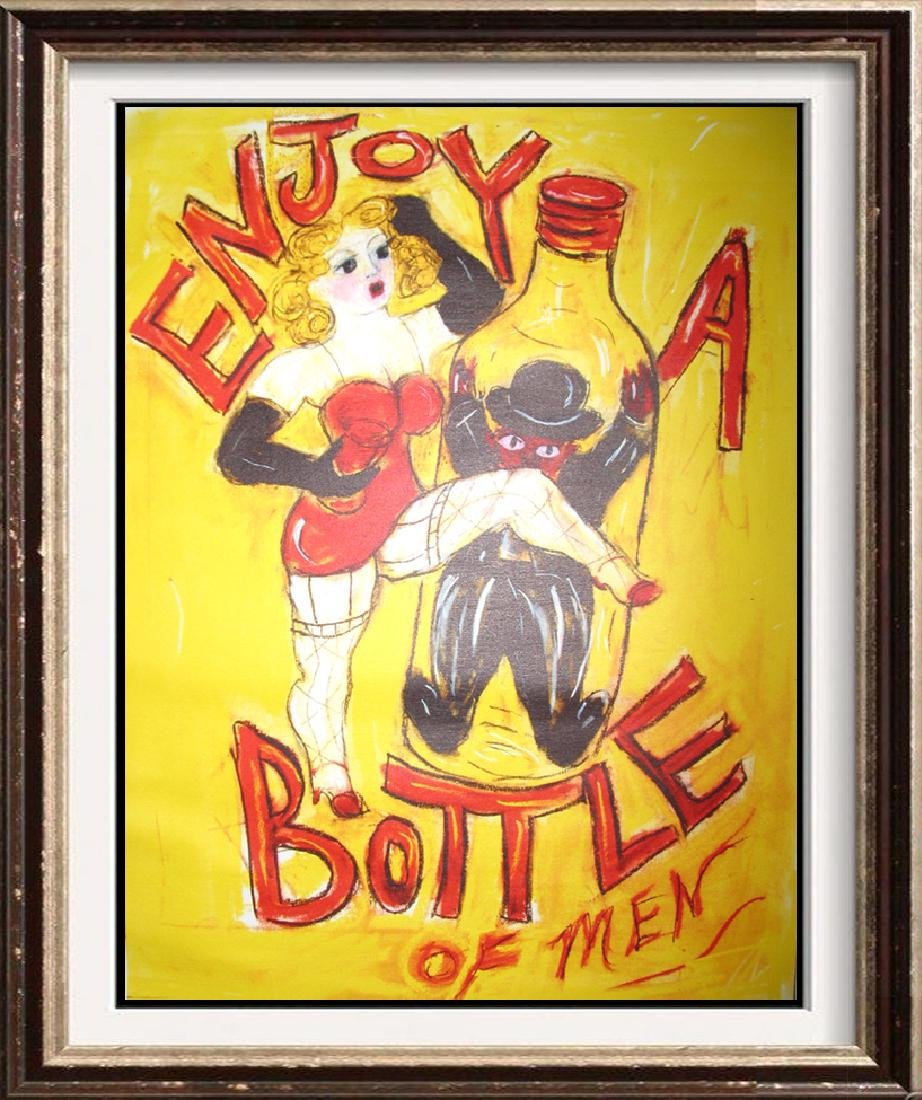 Enjoy a Bottle of Men Giclee on Canvas