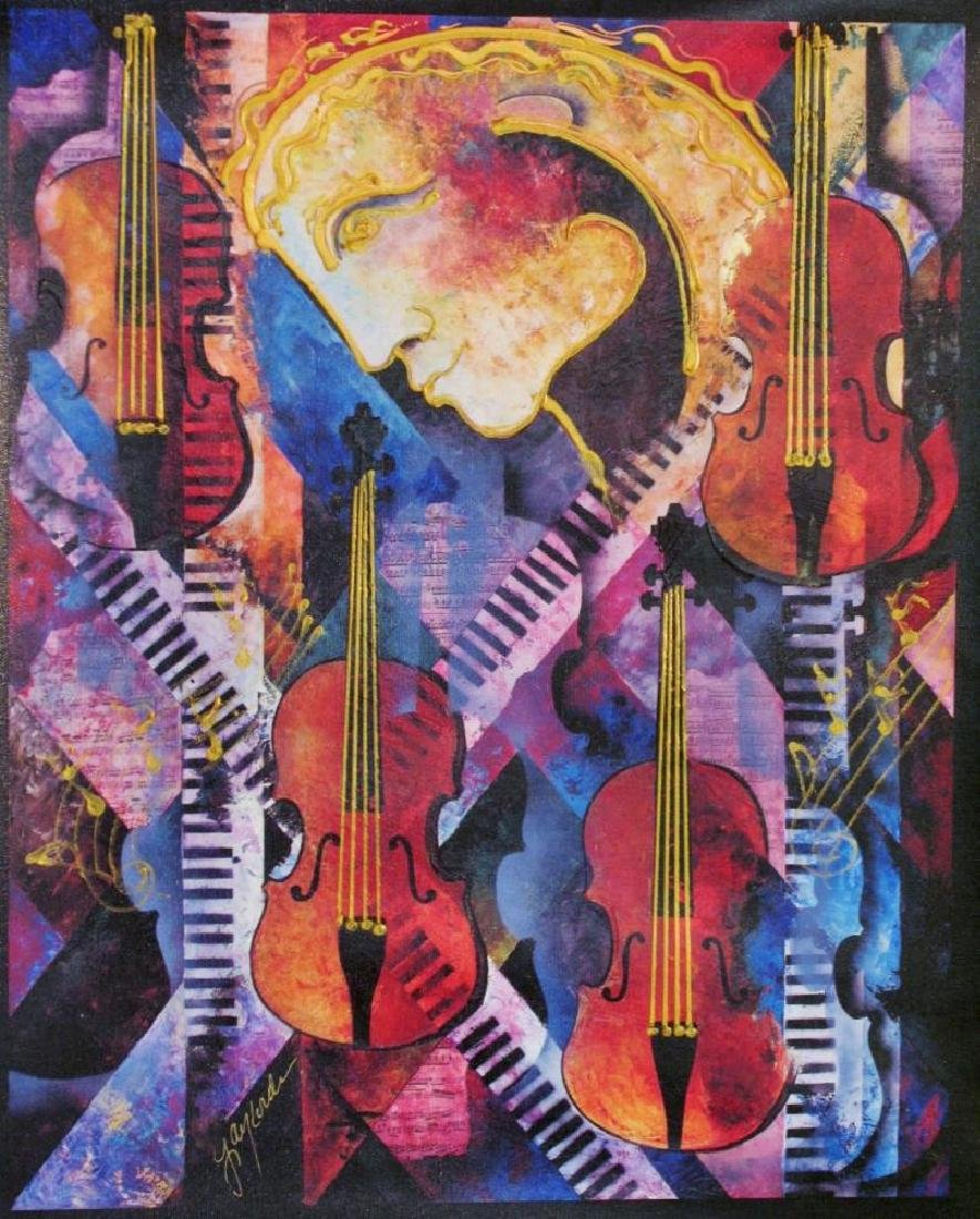 Violins of Mozart Abstract Colorful Canvas Modern Art - 2