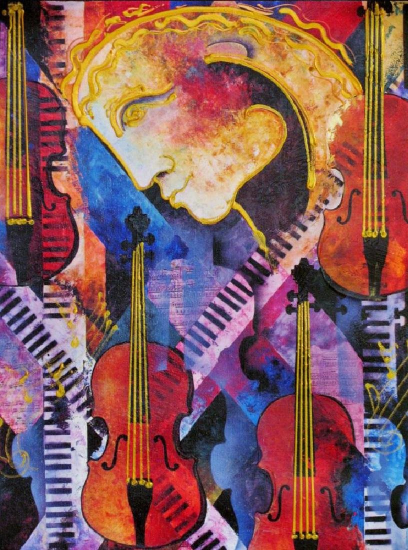 Violins of Mozart Abstract Colorful Canvas Modern Art - 3