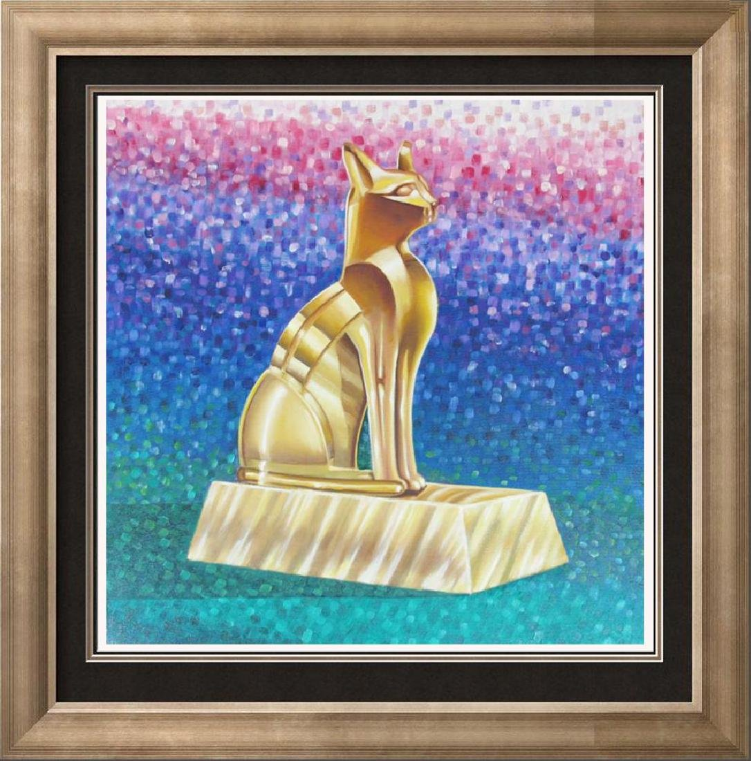 Cool Pointillism Feline Original Cat Painting on Canvas