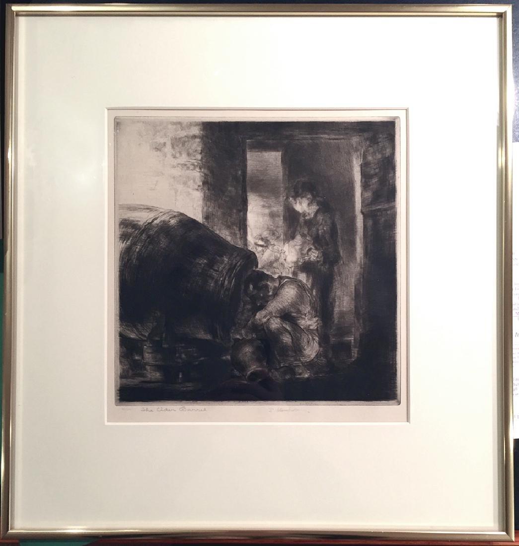 Edmund Blampied The Cider Barrel. 1928-29. Drypoint.