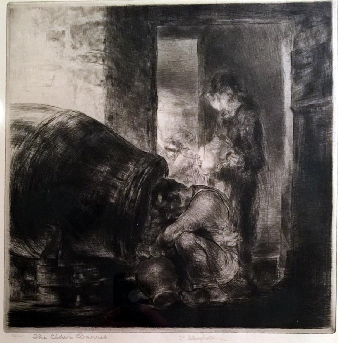Edmund Blampied The Cider Barrel. 1928-29. Drypoint. - 2