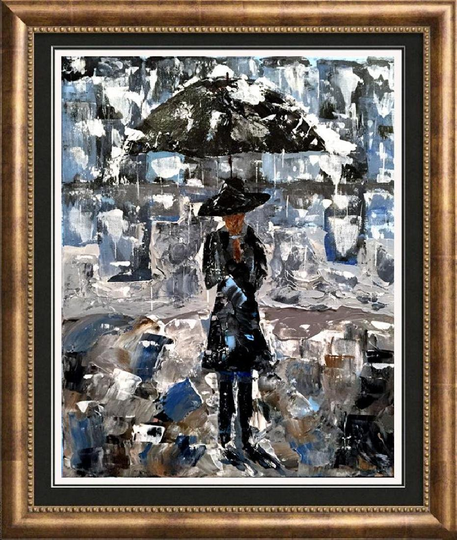 Swahn Girl with Umbrella Palette Knife Painting on