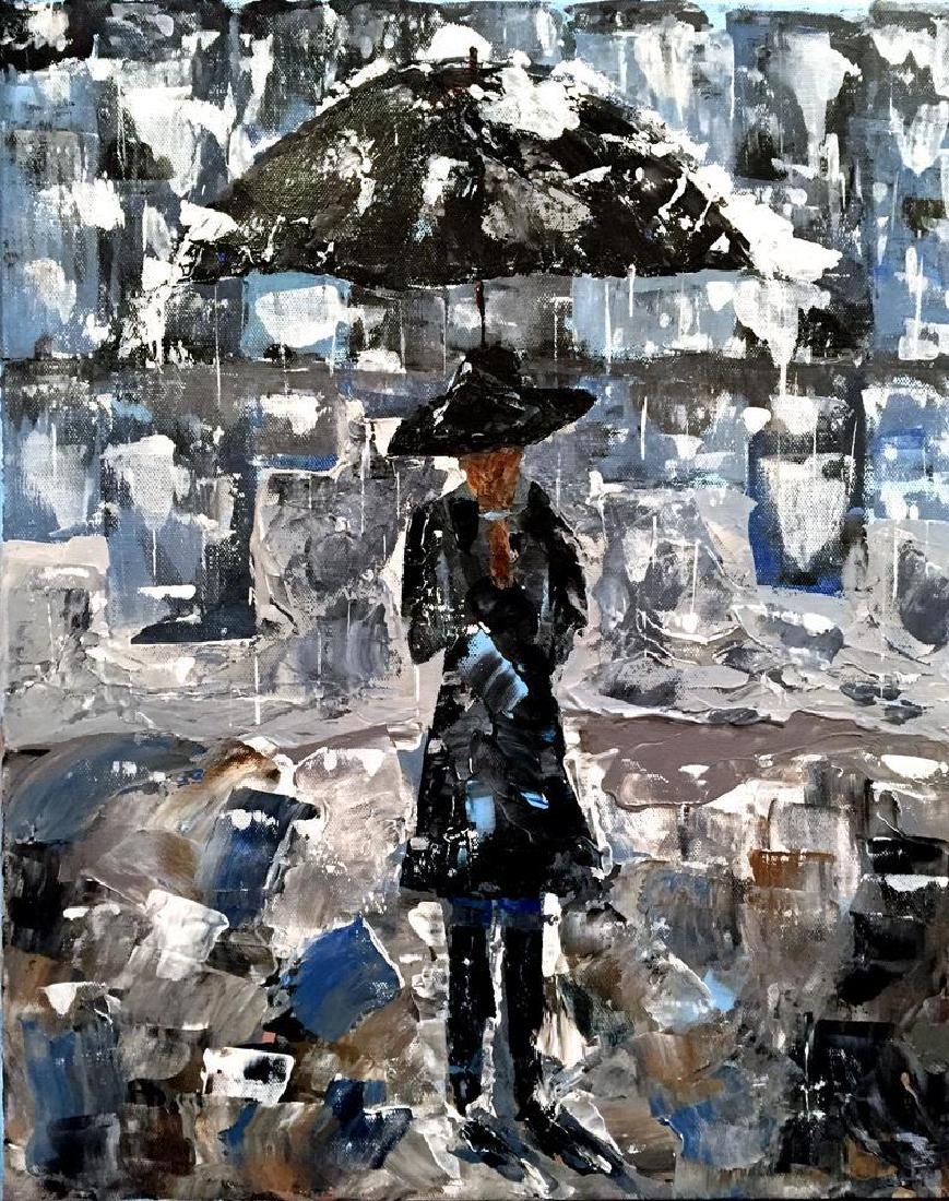 Swahn Girl with Umbrella Palette Knife Painting on - 2