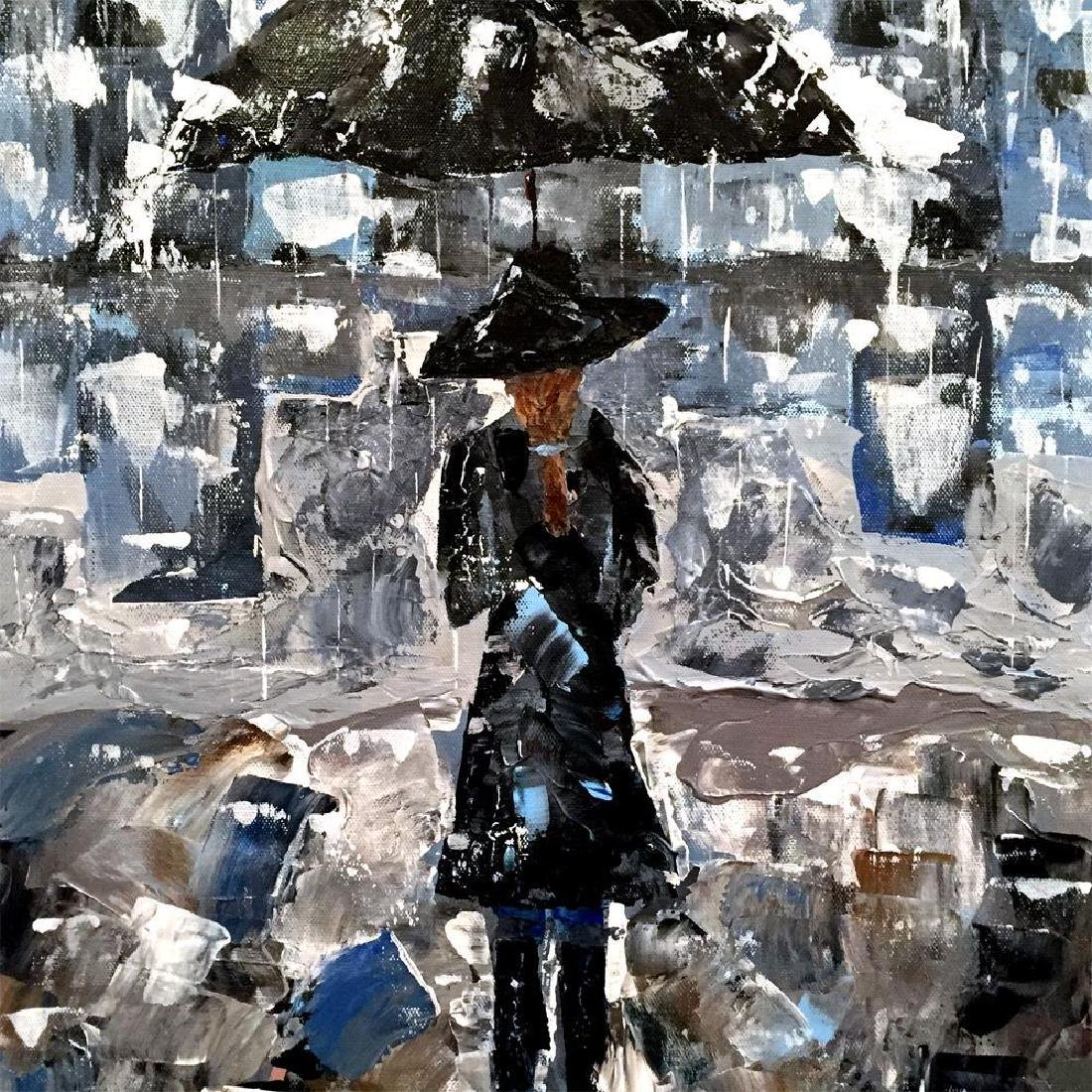 Swahn Girl with Umbrella Palette Knife Painting on - 3