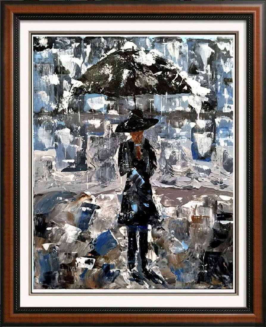 Swahn Girl with Umbrella Palette Knife Painting on - 4