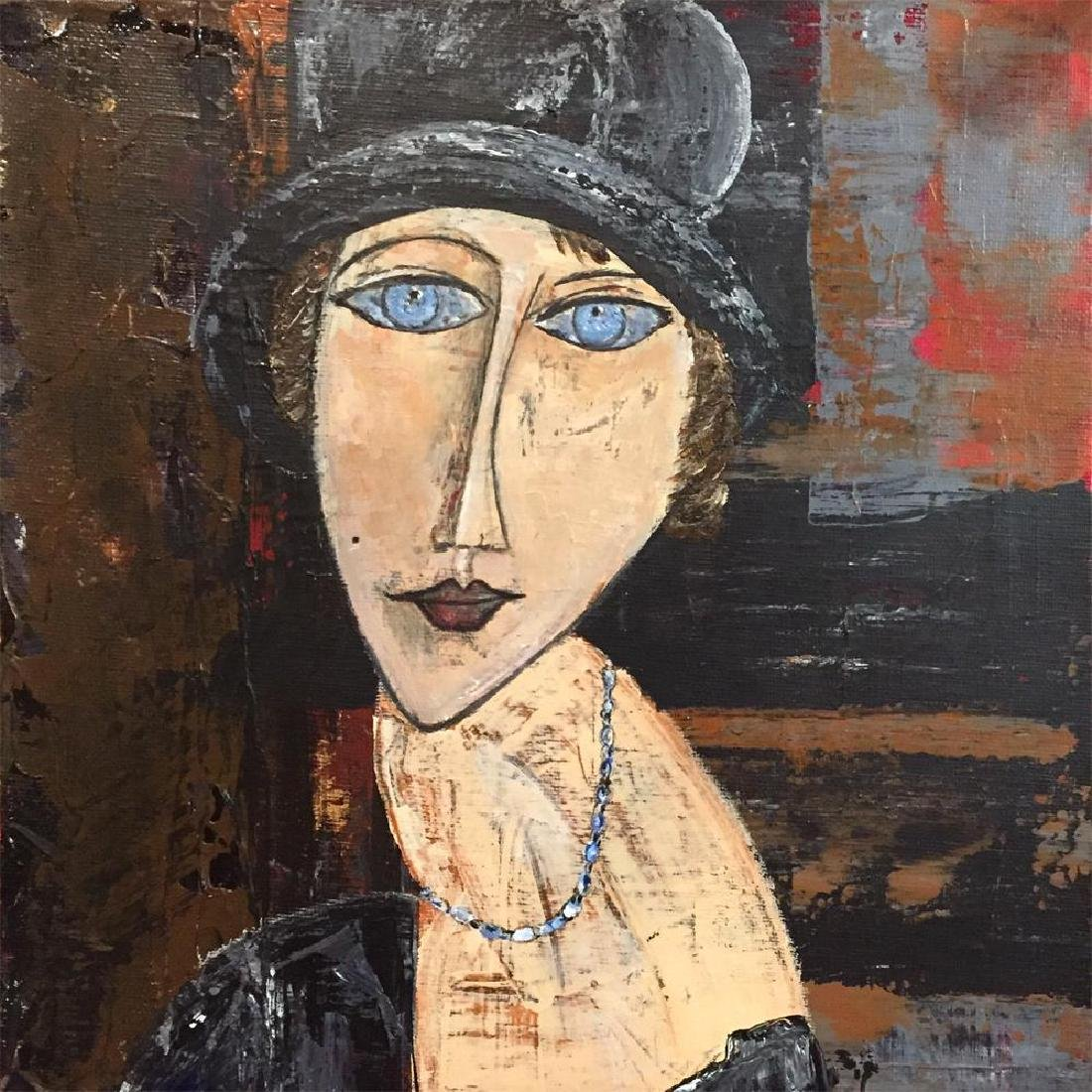Hat & Necklace Original Painting Swahn Signed Canvas - 3
