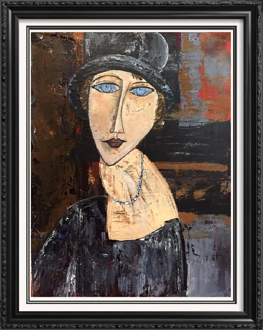 Hat & Necklace Original Painting Swahn Signed Canvas - 5