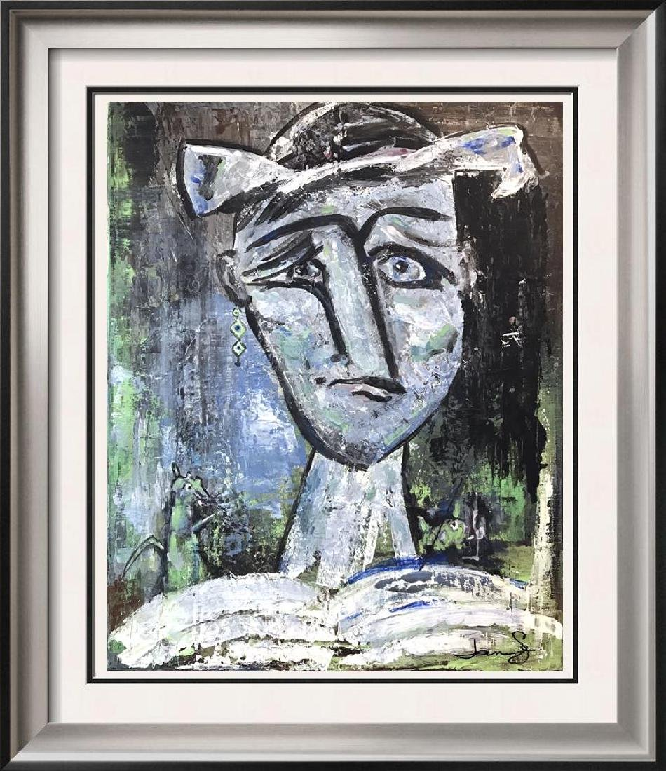 Blue Figure Abstract Painting on Canvas Swahn