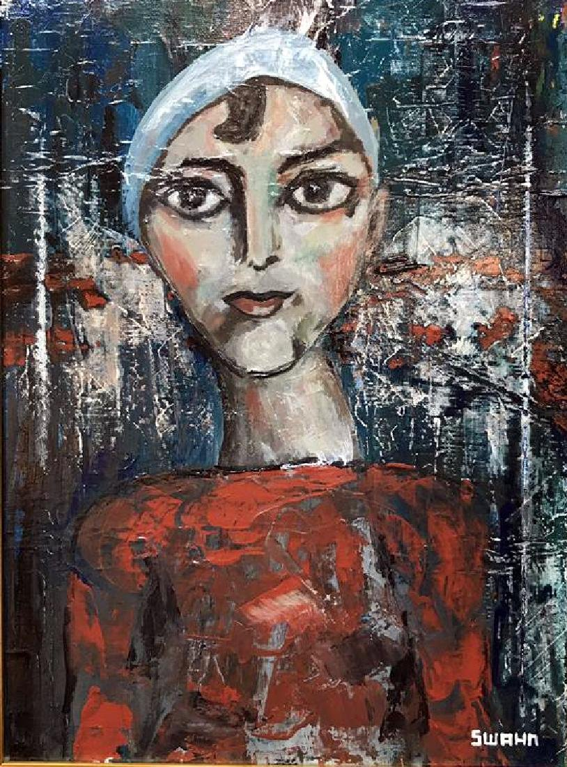 Swahn Acrylic on Canvas Figurative Modigliani style - 2