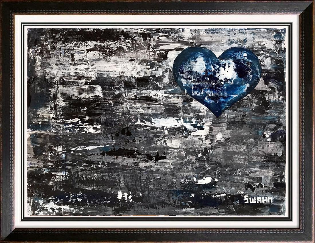 Heart on Gray Abstract Swahn Canvas Original Art Signed