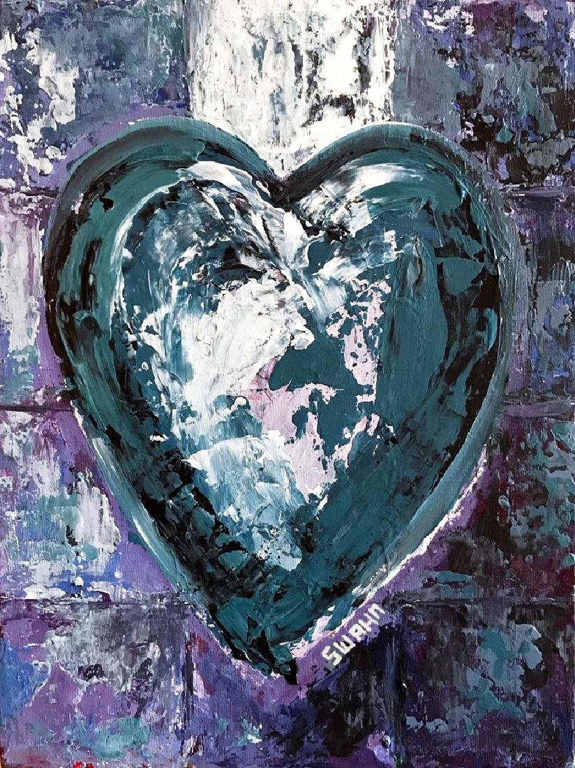 Swahn Heart Original Pop Painting on Board - 2