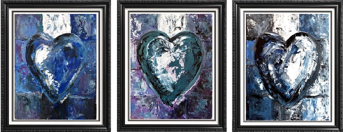 Janet Swahn 3 Piece Suite Heart Original Pop Painting