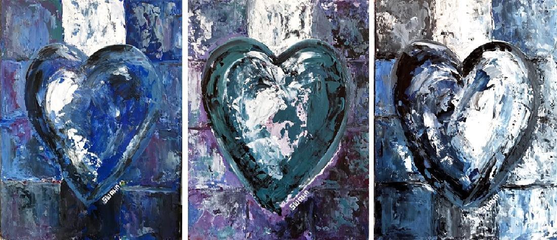 Janet Swahn 3 Piece Suite Heart Original Pop Painting - 2
