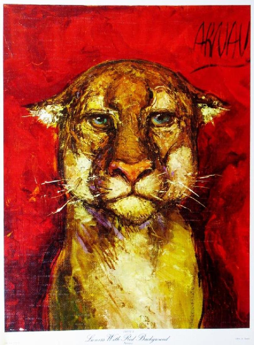 Lioness Lithograph Signed Colorful Art For Sale For