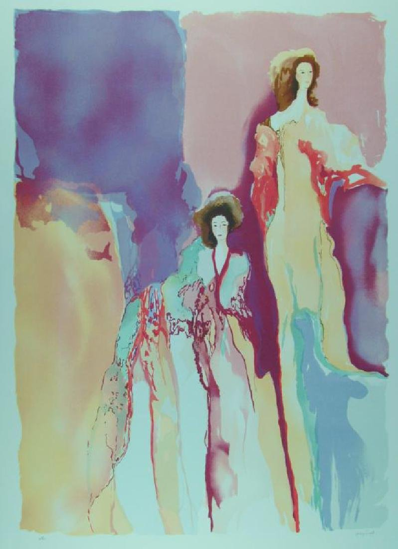 Large Bazinet Colorful Deco Abstract Women Watercolor