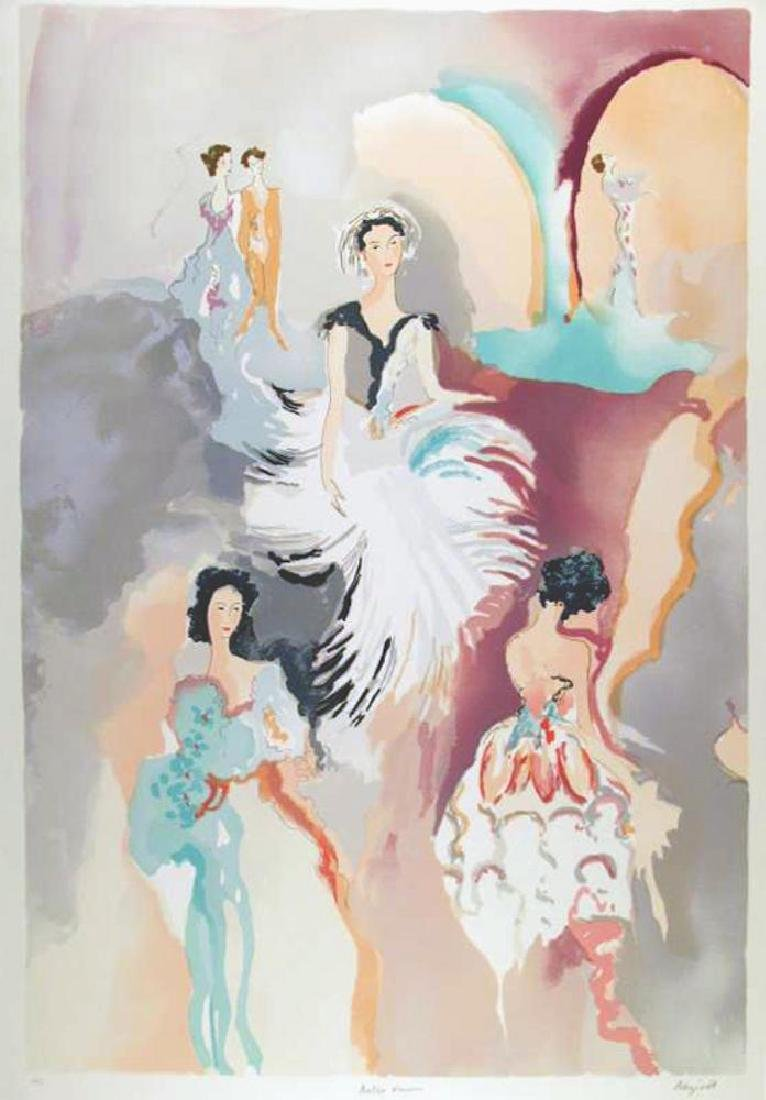 Large Bazinet Colorful Deco Abstract Women Watercolor - 2