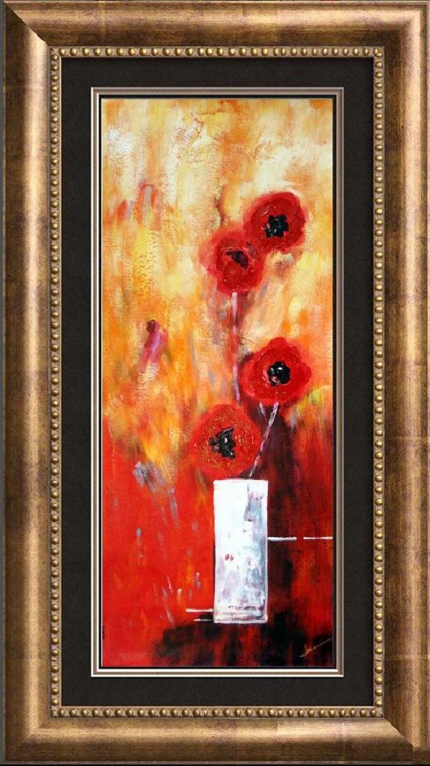 Bold Red Floral Canvas Large Original Signed Swahn - 3