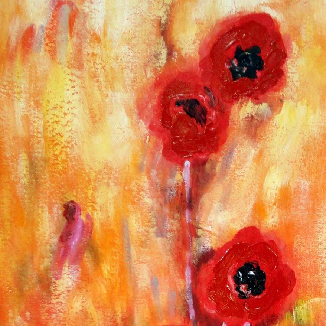 Bold Red Floral Canvas Large Original Signed Swahn - 4