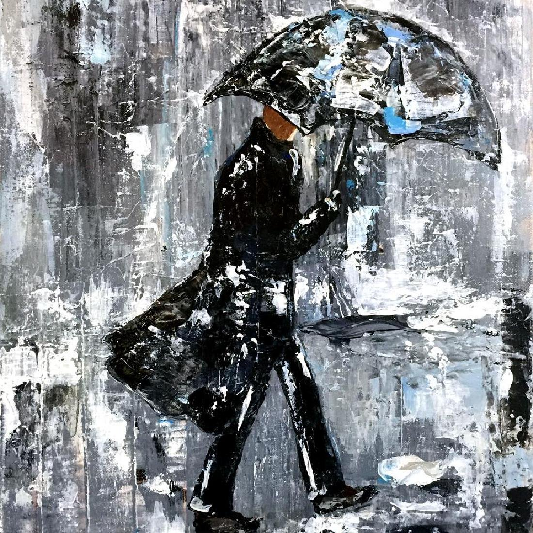 Swahn Man with Umbrella City Scene Textured - 3