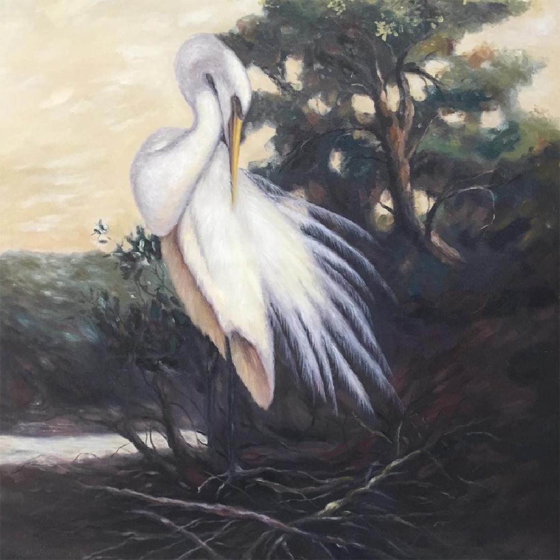 American Beauty Egret Realism Huge Original Painting on - 3