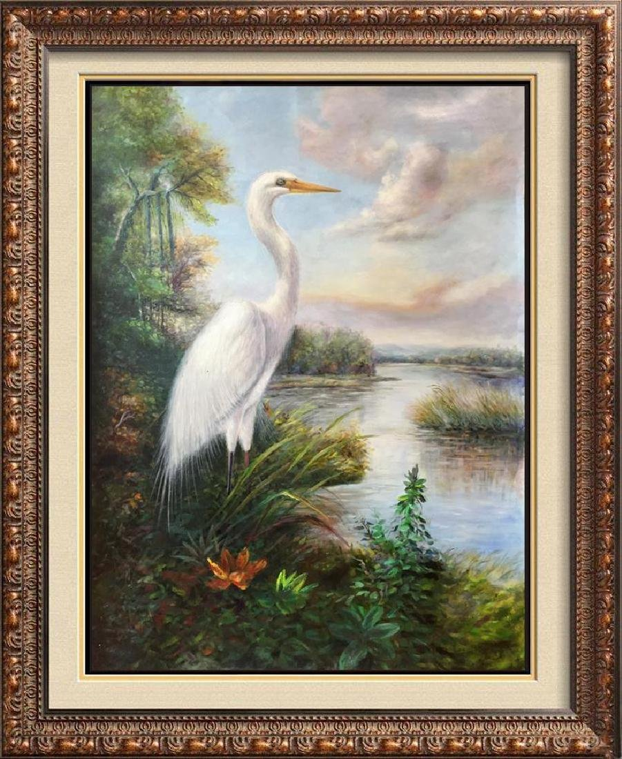 Standing Egret Painting on Canvas Realism Wildlife