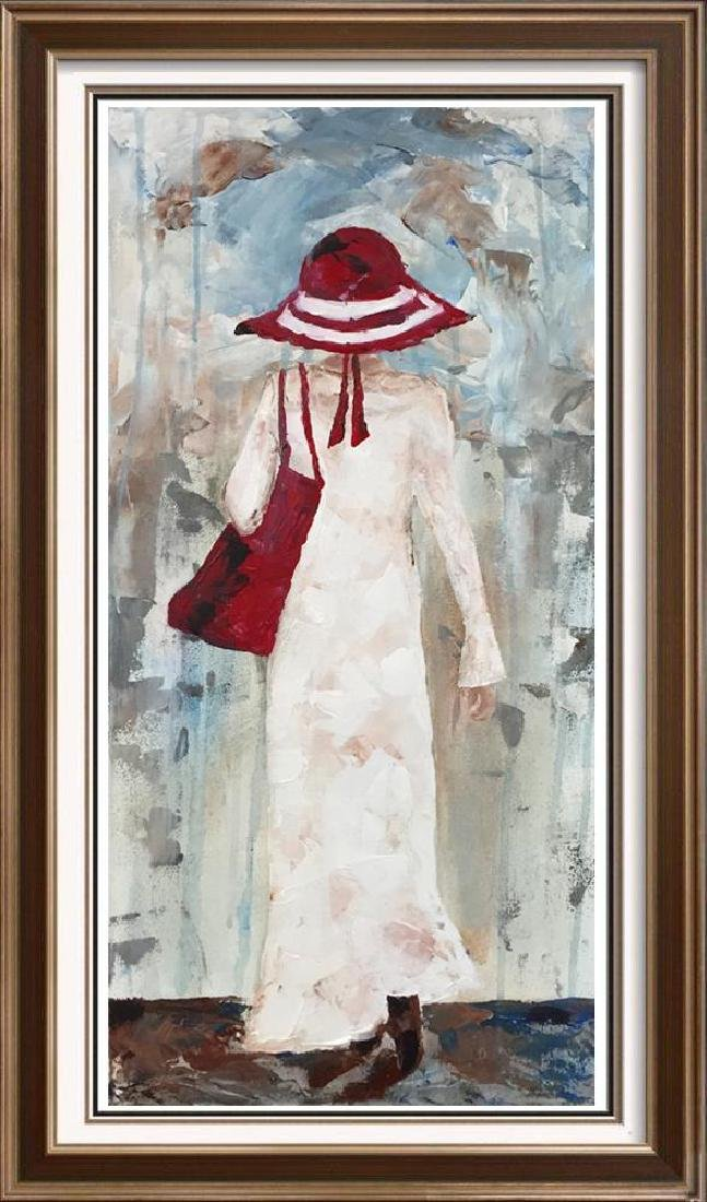 Beach Day Girl with Red Hat Signed Original Painting