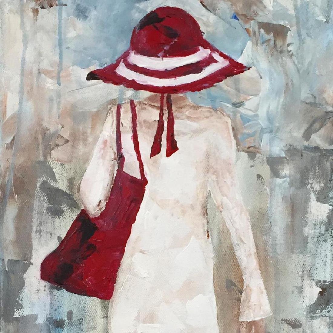 Beach Day Girl with Red Hat Signed Original Painting - 3