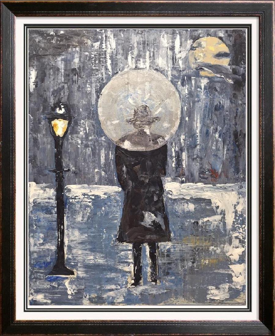 Paris Evening Rain Umbrella Original Painting Acrylic