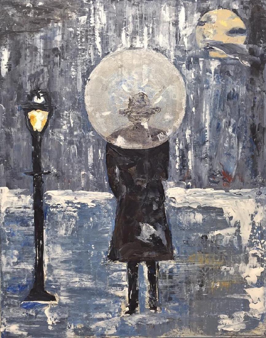 Paris Evening Rain Umbrella Original Painting Acrylic - 2