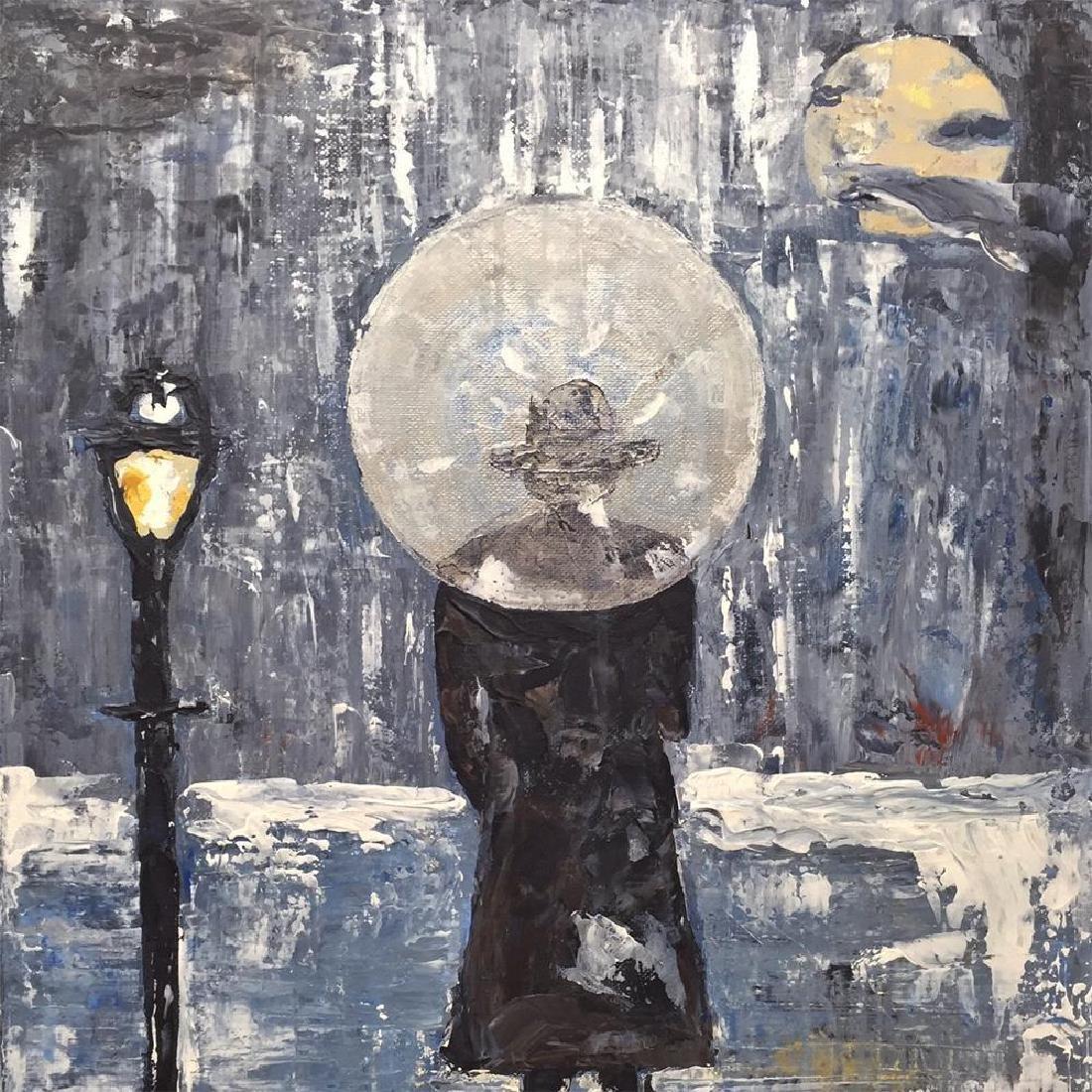 Paris Evening Rain Umbrella Original Painting Acrylic - 3