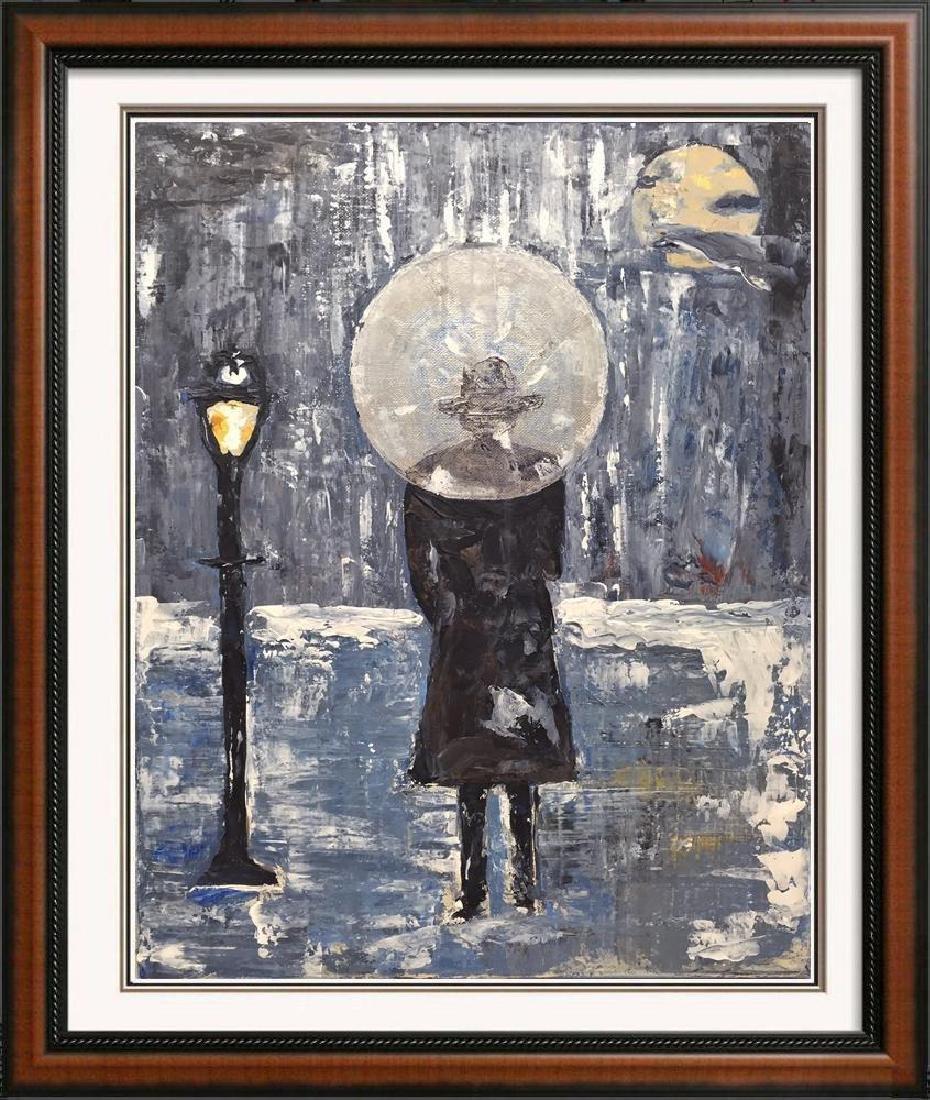 Paris Evening Rain Umbrella Original Painting Acrylic - 4