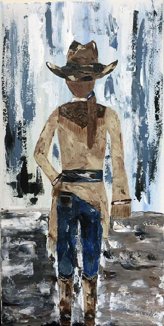 Cowgirl Textured Original Painting Acrylic Palette - 2