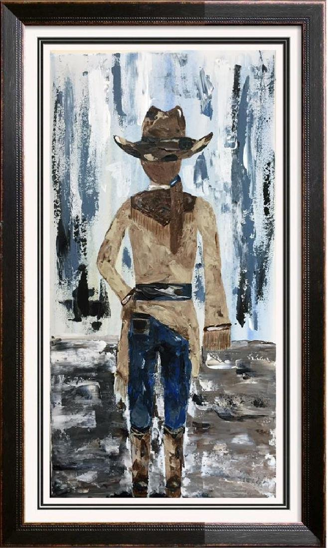 Cowgirl Textured Original Painting Acrylic Palette - 4