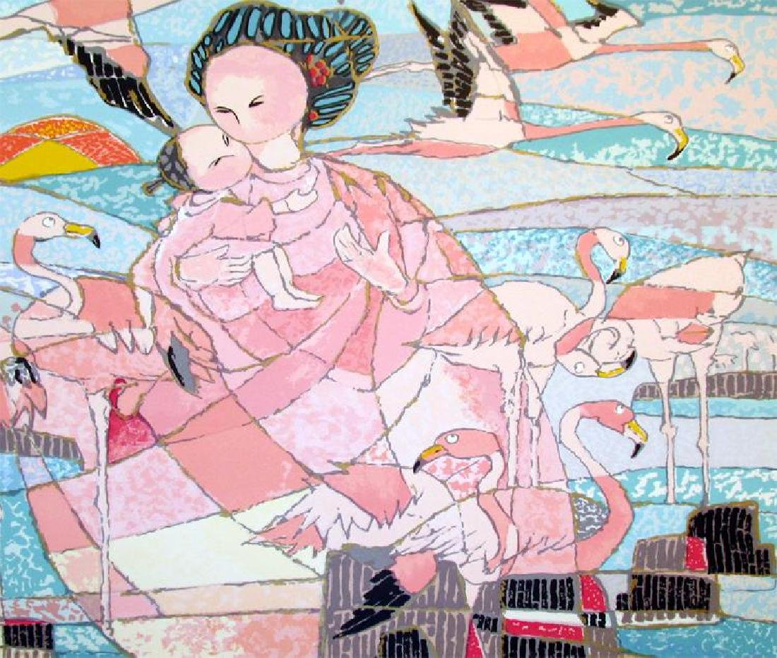 Mother & Child Large Asian Abstract Figurative Art - 3