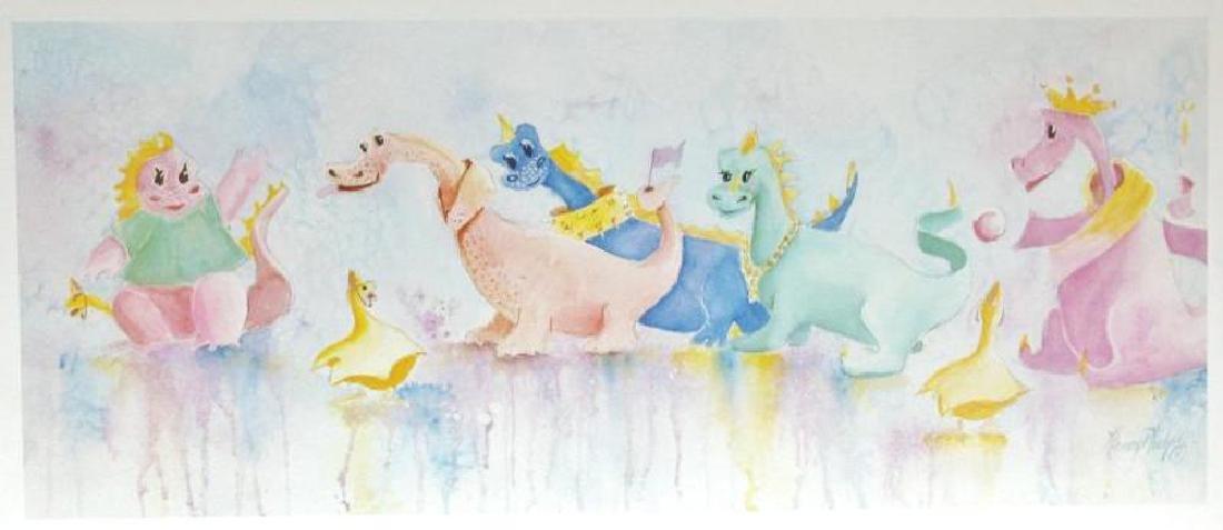 Fun Dinasaur Dragon Whimsical Naïve Colorful Signed - 2