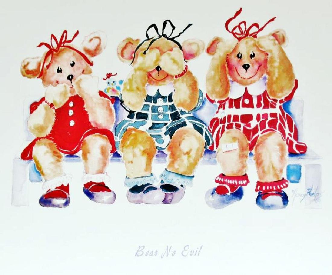 Bear No Evil Cute Kids Poster Plate Signed - 2
