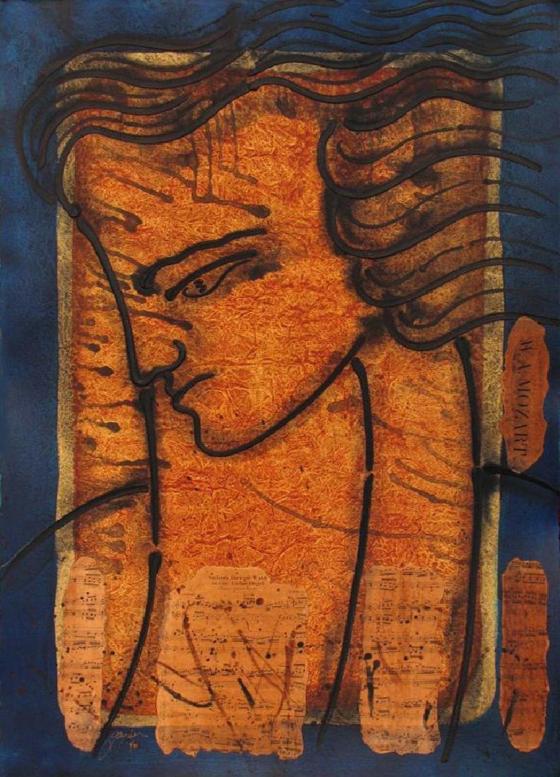 Mozart Hand Signed Original Painting Canvas 24x20 - 2
