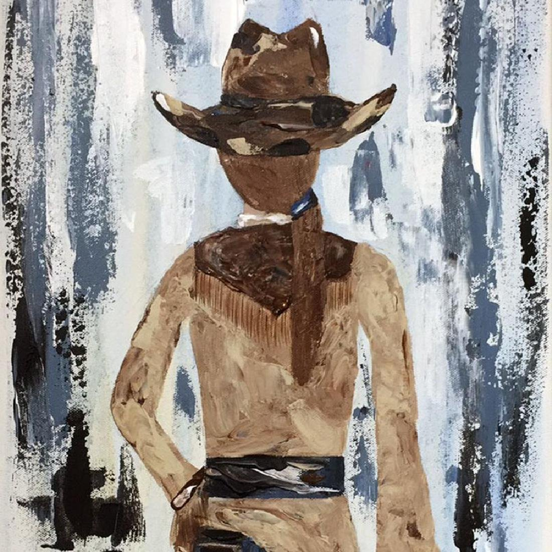 Cowgirl Textured Original Painting Acrylic Palette - 3