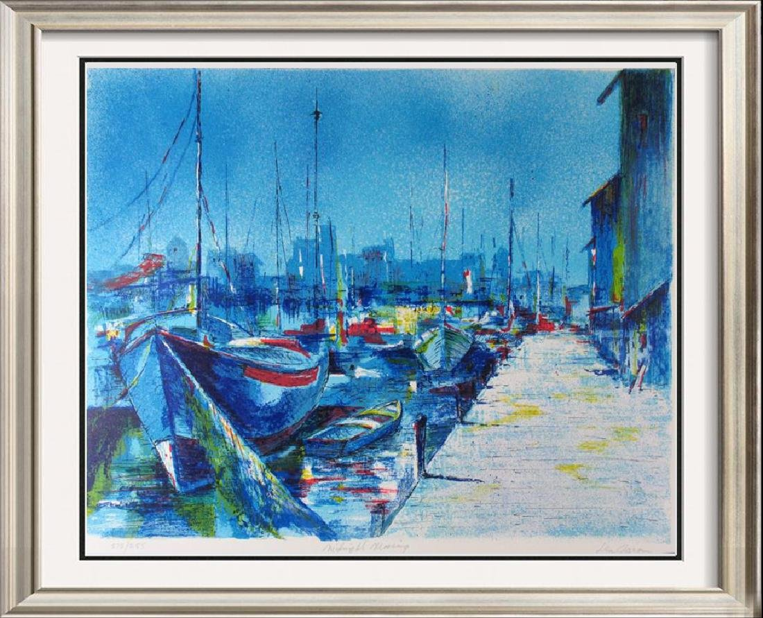 Boat Scene Bold Blue Colors Abstract Ltd Ed Sale