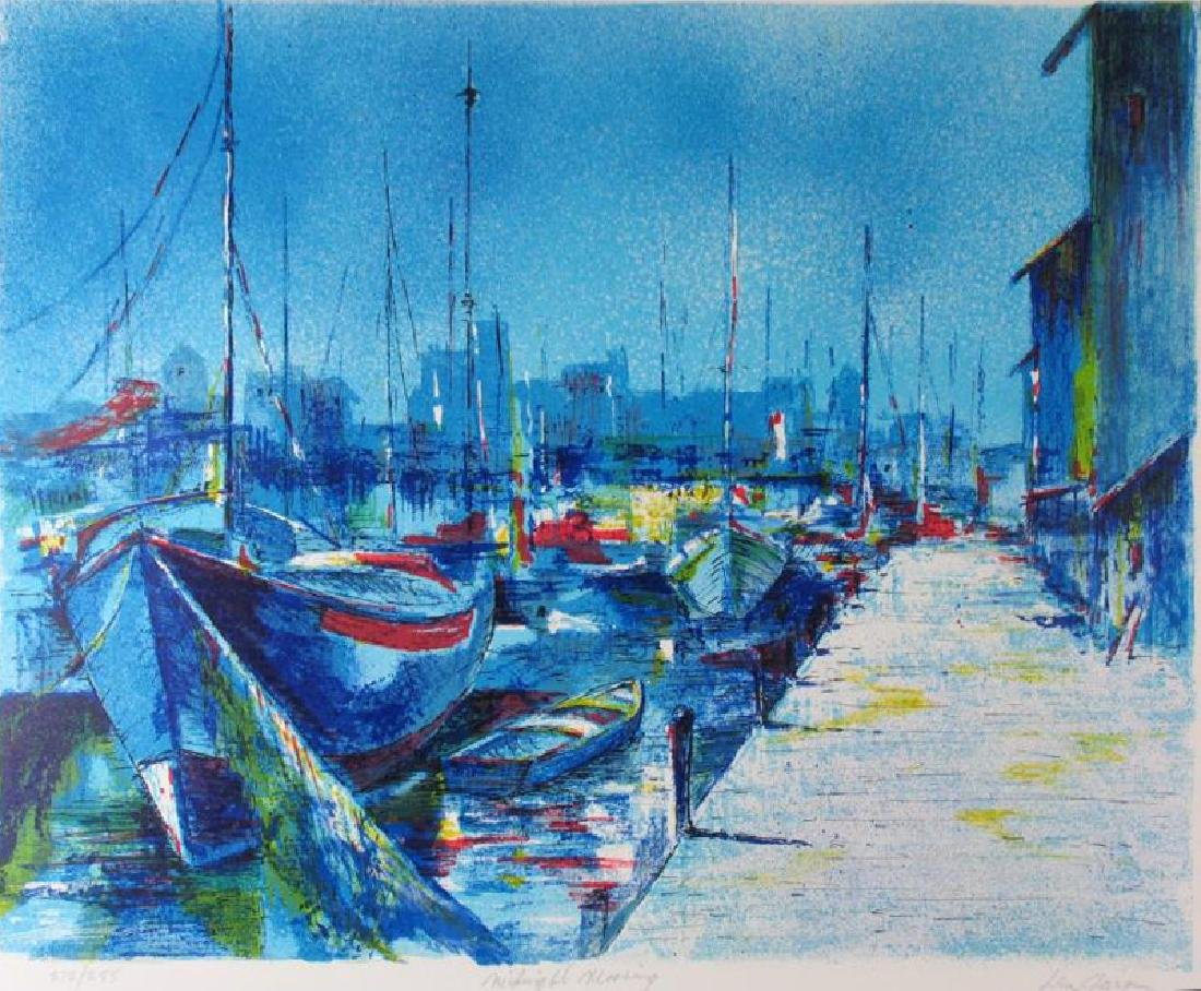 Boat Scene Bold Blue Colors Abstract Ltd Ed Sale - 2